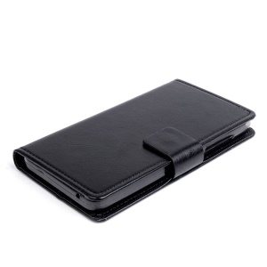 For Lenovo S580 Crazy Horse PU Leather Case Card Holder - Black