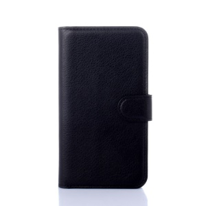 Litchi Skin Leather Card Holder Case for Lenovo A319 - Black