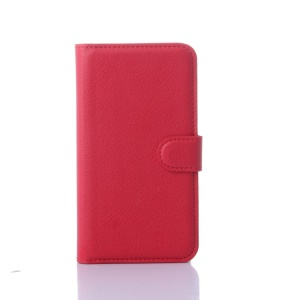 Litchi Skin Magnetic Leather Stand Case for Lenovo A319 - Red
