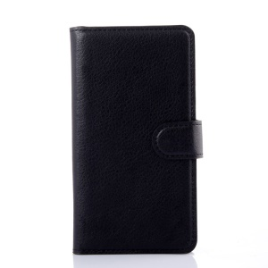 Litchi Grain Leather Wallet Case for Lenovo A536 with Stand - Black