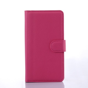 Litchi Grain Leather Stand Case for Lenovo A536 with Stand - Rose