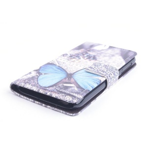 Blue Butterfly Flip Leather Stand Case for Lenovo A859 with Card Holder