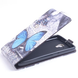 Blue Butterfly Leather Vertical Flip Case for Lenovo A536