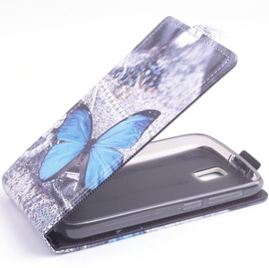 Blue Butterflies for Lenovo A328 Vertical Leather Magnetic Cover
