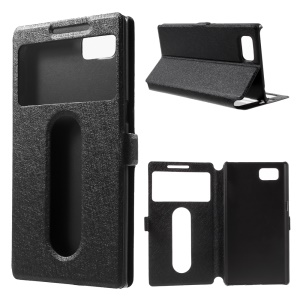 Silk Texture Dual Windows Leather Case for Lenovo Vibe Z2 Pro with Stand - Black