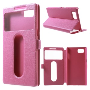 Silk Texture Dual Windows Leather Cover for Lenovo Vibe Z2 Pro K920 with Stand - Rose