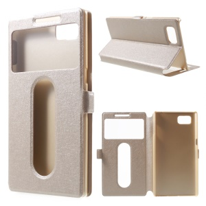 Silk Texture Dual Windows Leather Shell for Lenovo Vibe Z2 Pro K920 with Stand - Champagne