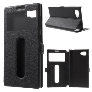 Silk Texture Dual View Windows Leather Cover for Lenovo Vibe Z2 - Black