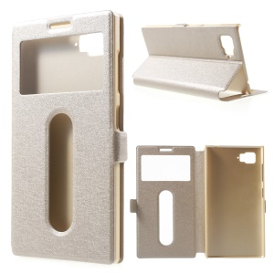 Silk Texture Dual View Window Leather Case for Lenovo Vibe Z2 - Champagne