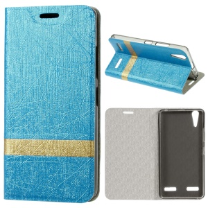 Lines Textured Stand Leather Folio Cover for Lenovo A6000/A6000 Plus/A6010/A6010 Plus - Baby Blue