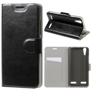 Crazy Horse Card Slot PU Leather Cover for Lenovo A6000/A6000 Plus/A6010/A6010 Plus/K3 Music Lemon - Black