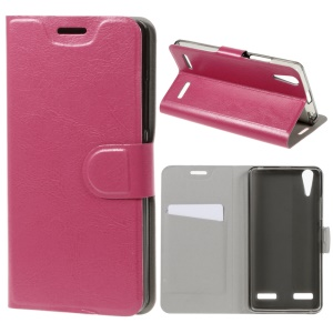Crazy Horse Card Slot PU Leather Cover for Lenovo A6000/A6000 Plus/A6010/A6010 Plus/K3 Music Lemon - Rose