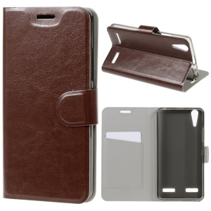 Crazy Horse Card Slot PU Leather Cover for Lenovo A6000/A6000 Plus/A6010/A6010 Plus - Brown