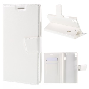 Crazy Horse Leather Card Holder Cover for Lenovo K3 Note K50-t5 / A7000 - White