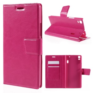 Crazy Horse Magnetic Leather Stand Cover for Lenovo K3 Note K50-t5 / A7000 - Rose