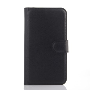 Litchi Skin PU Leather Card Holder Cover for Lenovo A606 - Black