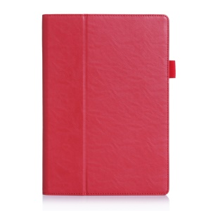 Smart Card Holder Leather Shell for Lenovo TAB 2 A10-70 with Elastic Band - Red