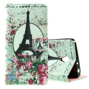 Callfree Leather Wallet Protective Case for Lenovo S860 - Eiffel Tower and Flowers