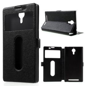Dual Windows Silk Texture PU Leather Case for Lenovo K80 - Black
