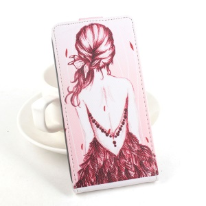Vertical Flip Leather Phone Case for Lenovo S60-T S60-W - Red Sketch Girl