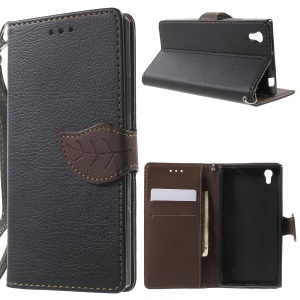 Leaf-shaped Magnetic Wallet Leather Case for Lenovo P70 - Black