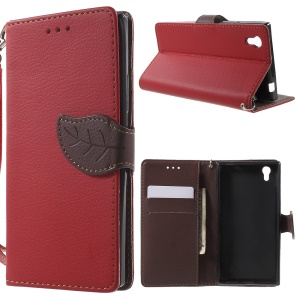 Leaf-shaped Magnetic Wallet Leather Case for Lenovo P70 - Red