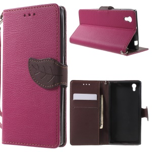Leather Wallet Cover for Lenovo P70 with Leaf-shaped Magnetic Flap - Rose