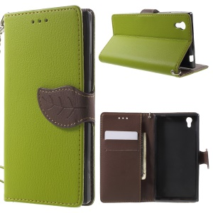 Leather Stand Cover for Lenovo P70 with Leaf-shaped Magnetic Flap - Green