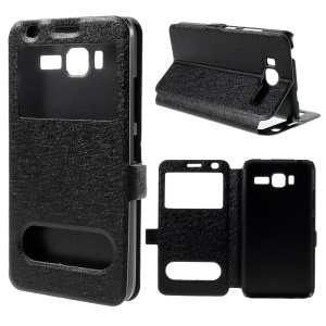 Dual View Windows Silk Texture Leather Stand Case for Lenovo A916 - Black