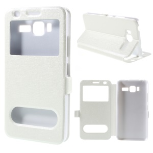 Dual View Windows Silk Texture Leather Stand Cover for Lenovo A916 - White