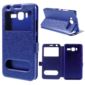 Dual View Windows Silk Texture Magnetic Leather Stand Case for Lenovo A916 - Blue