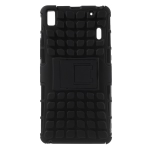 2 in 1 PC and TPU Kickstand Case for Lenovo K3 Note K50-t5 / A7000 - Black