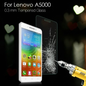 0.3mm Tempered Glass Screen Protector Film for Lenovo A5000 5.0-inch Arc Edge