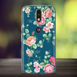 Embossed Pattern Cell Phone Cover for Motorola Moto G4 / G4 Plus (TPU) - Blooming Roses