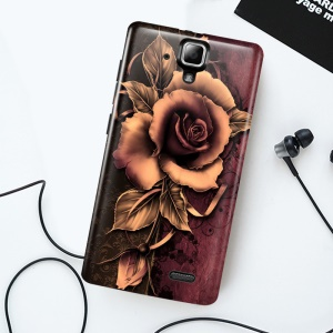 Softlyfit Embossment Flexible TPU Cell Phone Case for Lenovo A536 - Gothic Rose