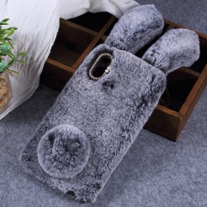 Rabbit Shape Fluffy Fur Coated Rhinestone TPU Shell Cover Case for Xiaomi Mi Max 3 - Dark Grey