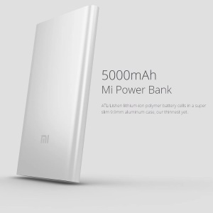 XIAOMI 5000mAh Universal Portable Power Bank for Xiaomi, iPhone iPad Samsung HTC, Google Smartphone Tablets - Silver