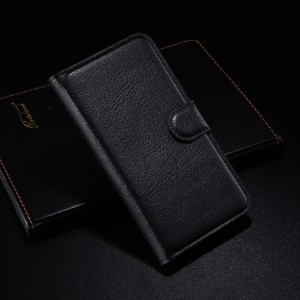Litchi Grain Leather Wallet Case for Alcatel One Touch Idol 2 6037B 6037K w/ Stand - Black