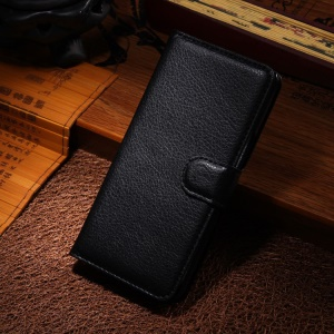 Litchi Grain Folio Leather Case w/ Stand for Alcatel One Touch Idol X+ 6043D - Black
