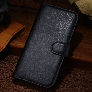 Black for Alcatel One Touch Idol Alpha 6032A 6032X / TCL S860 Litchi Grain Wallet Leather Stand Case