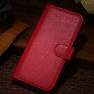 Red for Alcatel One Touch Idol Alpha 6032A 6032X / TCL S860 Litchi Grain Wallet Leather Stand Shell