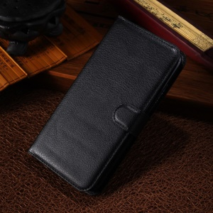 Black Litchi Grain Wallet Leather Shell for Alcatel One Touch POP S9 OT7050K w/ Stand