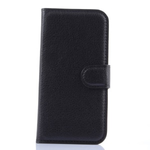 For Alcatel One Touch POP 2 (4.5) 5042X 5042F Litchi Grain Leather Case w/ Stand - Black