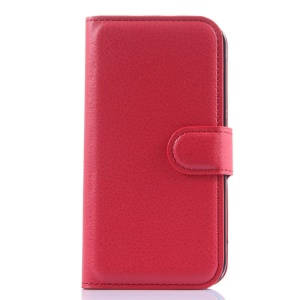 For Alcatel One Touch POP 2 (4.5) 5042X 5042F Litchi Grain Leather Wallet Cover w/ Stand - Red
