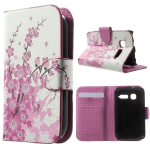 For Alcatel One Touch Pop C1 OT-4015A OT-4015D Leather Card Holder Shell with Stand - Plum Blossom