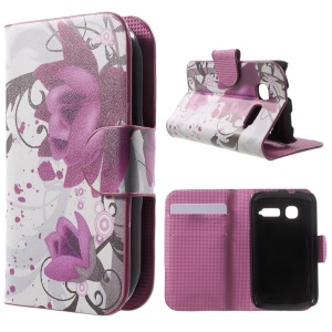 For Alcatel One Touch Pop C1 OT-4015A OT-4015D Leather Flip Case Stand - Purple Flowers