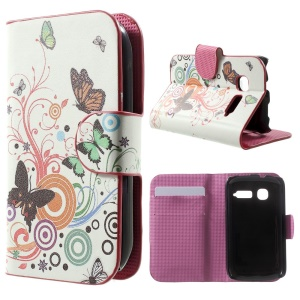 For Alcatel One Touch Pop C1 OT-4015A OT-4015D Stand Leather Flip Cover - Butterflies and Circles