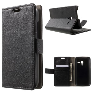 Litchi Leather Wallet Protective Case for Alcatel One Touch POP D3 4035A 4035Y 4035X - Black
