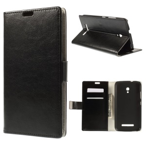 Crazy Horse Leather Stand Case for Alcatel One Touch POP S9 OT7050Y OT7050K - Black