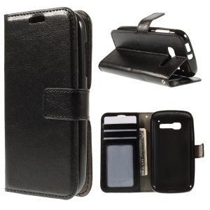 Crazy Horse Leather Wallet Case for Alcatel One Touch Pop C5 OT-5036A OT-5036D OT-5036X - Black